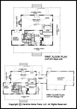 Small 2 story open house plan chp sm 1568 a2s sq ft for 2 story open floor plan