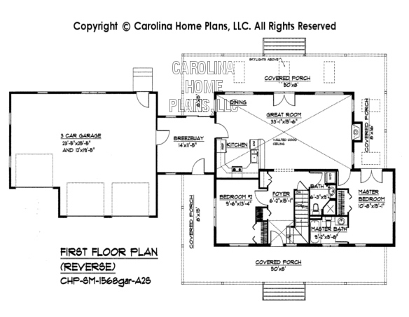 SM-1568gar Reverse First Floor Plan with Garage