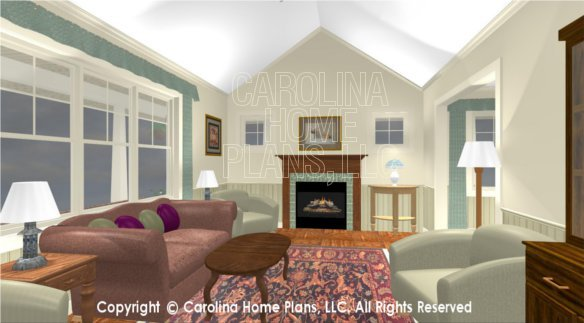 SG-1152 3D Living Room to Fireplace
