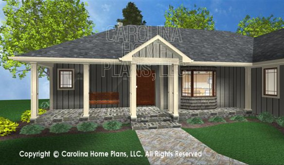 3D Images For CHP-SG-1199-AA | Small Ranch 3D House Plan Views