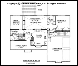SG 1199 Main Floor Plan Small Ranch Style House Sq Ft  Affordable Home
