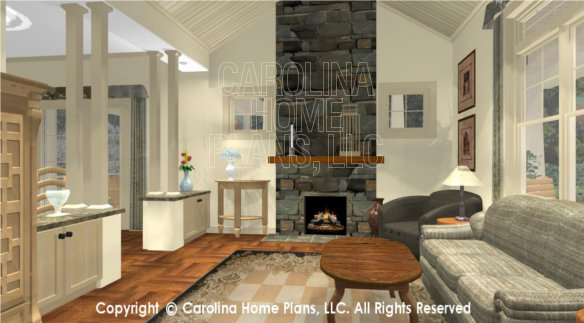 SG-1248 3D Living Room to Fireplace