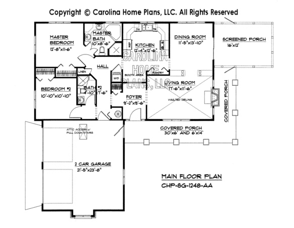 Small Country Ranch House Plan CHPSG1248AA Sq Ft – Floor Plans For 2 Bedroom 2 Bath Homes