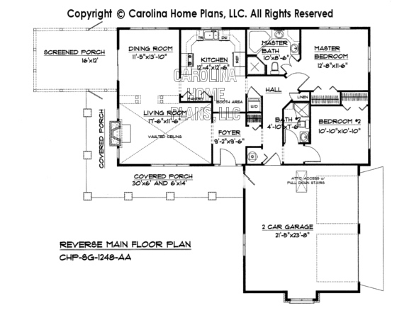 Small country ranch house plan chp sg 1248 aa sq ft for Reverse ranch house plans