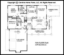 Small Country Ranch House Plan CHP SG 1248 AA Sq Ft Affordable