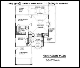Small Country Style House Plan SG 1275 Sq Ft Affordable Small