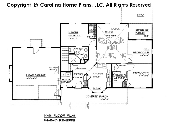 Small Craftsman Style House Plan SG  Sq Ft   Affordable Small    SG  Reverse Main Floor Plan