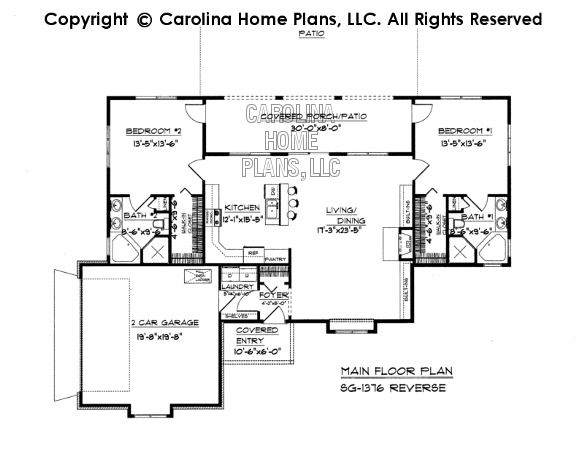 Small florida style house plan sg 1376 sq ft affordable for Floor plans florida