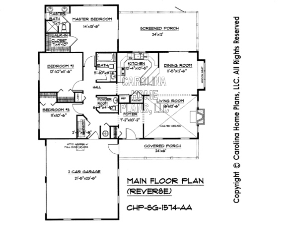 SG-1574 Reverse Main Floor Plan