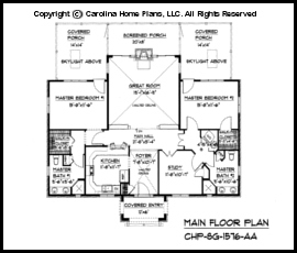 sg 1576 main floor plan - Small Cottage House Plans 2