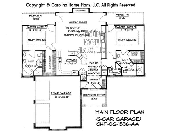 Small craftsman bungalow house plan chp sg 1596 aa sq ft for Small home plans with garage