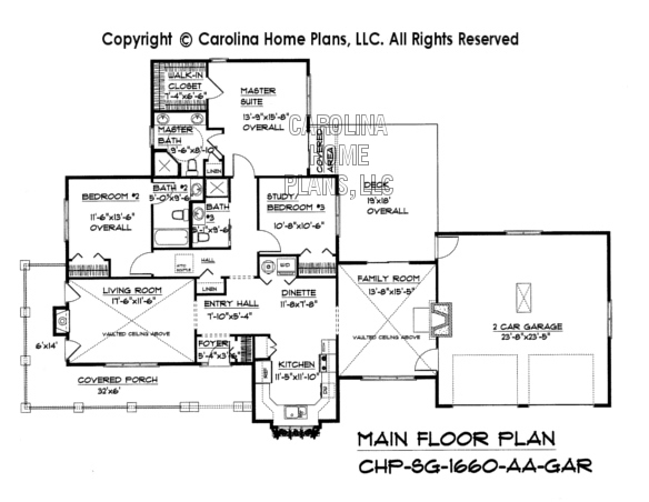 SG-1660 Main Floor Plan with Garage