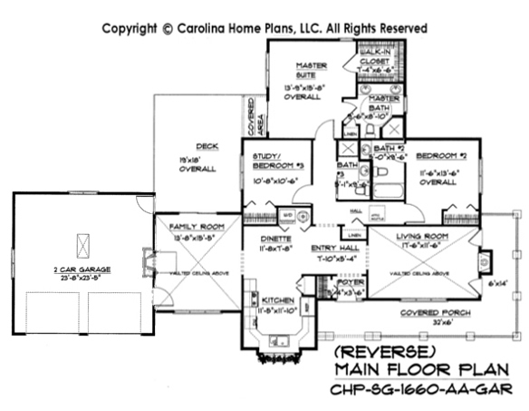 Small craftsman cottage house plan chp sg 1660 aa sq ft for Floor plans garage under house