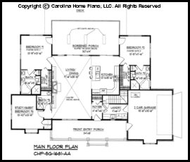 sg 1681 main floor plan - Small Ranch House Plans