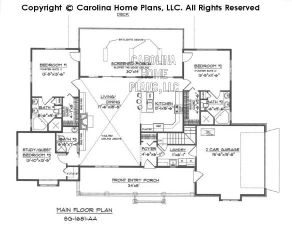 Country Style House Plans country style home for a sloping lot Sg 1681 Main Floor Plan