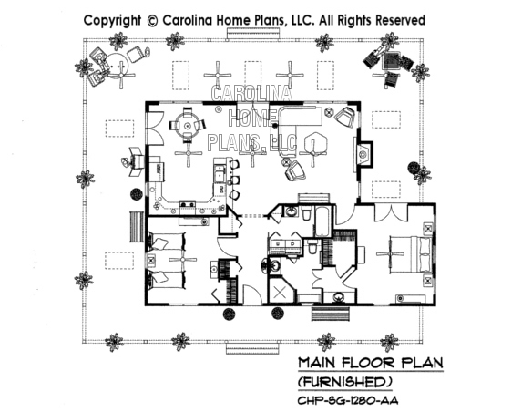 SG-1280-AA Furnished Main Floor Plan