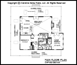 sg 1280 main floor plan - Small Cottage House Plans