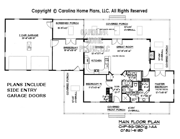 SG-1280 (Garage/Crawl/Slab) Main Floor Plan