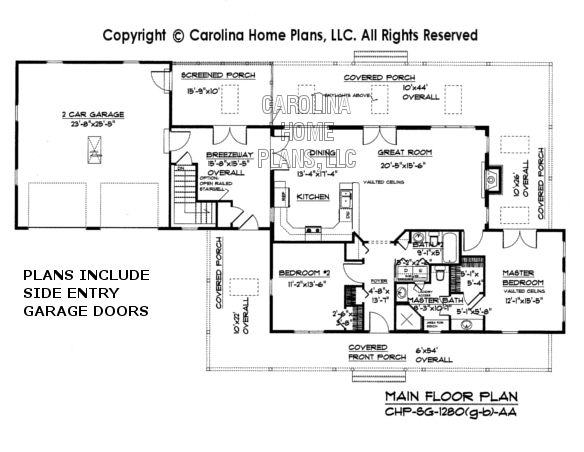 SG-1280 (Garage/Basement) Main Floor Plan