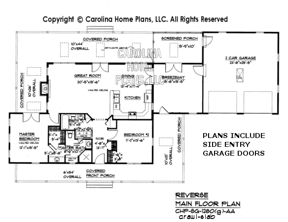 SG-1280 (Garage/Crawl/Slab) Reverse Main Floor Plan