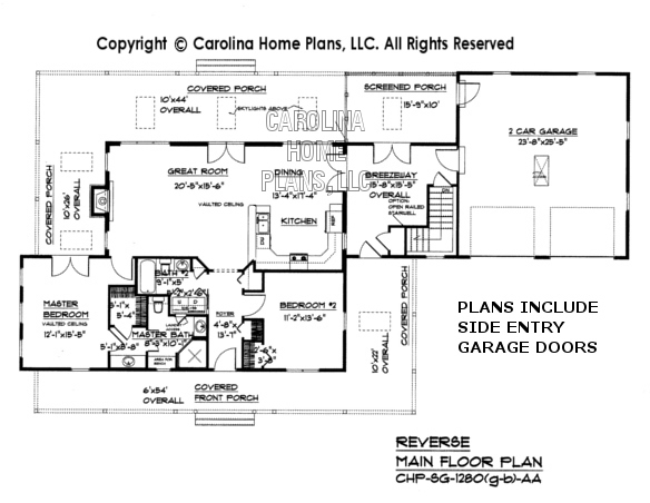 SG-1280 (Garage/Basement) Reverse Main Floor Plan