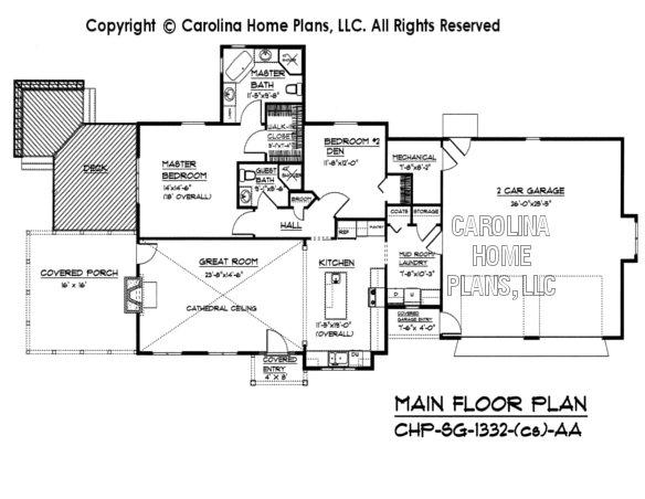 SG-1332 (Crawl/Slab) Main Floor Plan