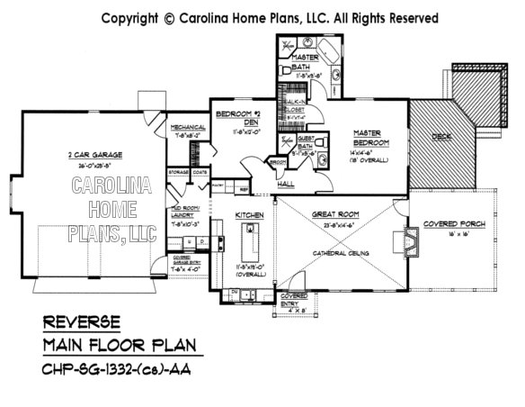 Small craftsman cottage house plan chp sg 1332 aa sq ft for Reverse floor plan