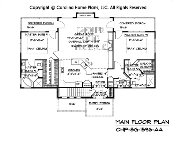 Small craftsman bungalow house plan chp sg 1596 aa sq ft for 1600 sq ft house floor plans