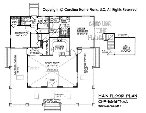 SG-1677 Main Floor Plan with crawl/slab