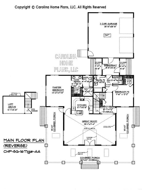 SG-1677 Reverse Main Floor Plan, Garage