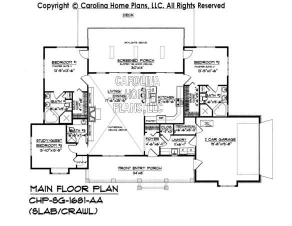 Small country ranch style house plan sg 1681 sq ft for Slab house floor plans