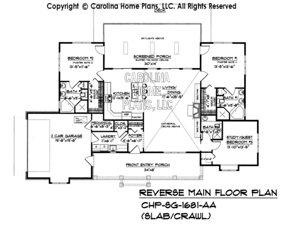 Small country ranch style house plan sg 1681 sq ft Slab home floor plans