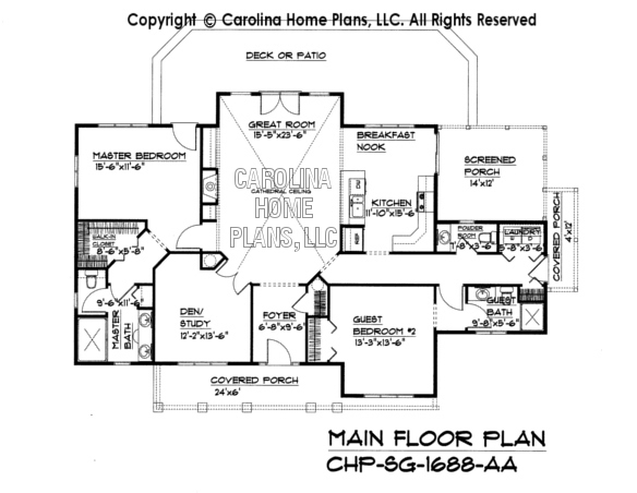 Small craftsman cabin house plan chp sg 1688 aa sq ft for Main level floor plans