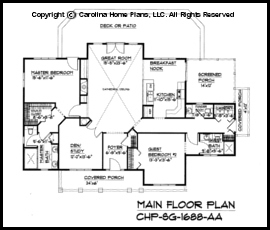 One Story Open Floor House Plans | Small Craftsman Cabin House Plan Chp Sg 1688 Aa Sq Ft Affordable