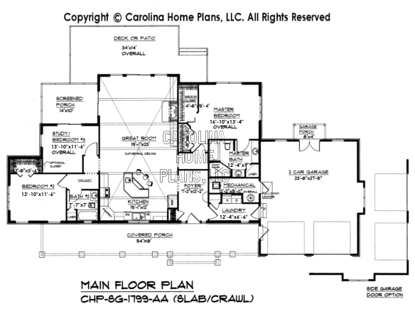 SG-1799 Main Floor Plan-Slab Fnd