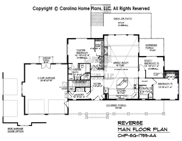 SG-1799 Reverse Main Floor Plan
