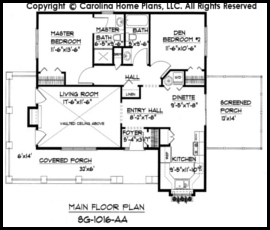 Small Cottage Style House Plan SG-1016 Sq Ft | Affordable ... on narrow beach house designs, narrow house plan designs, narrow lake house designs,