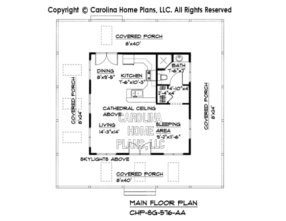 Tiny Cottage Style House Plan SG-576 Sq Ft | Affordable Small Home