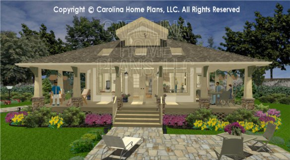 3d images for chp sg 979 ams small stone craftsman for Carolina house plans
