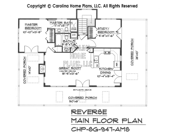 Small country guest cottage house plan sg 947 ams sq ft for Reverse floor plan
