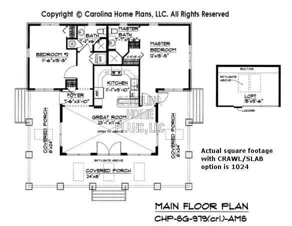 SG-979 Main Floor Plan with crawl space
