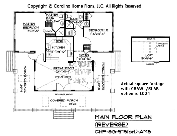 Small stone craftsman bungalow house plan chp sg 979 ams for Crawl space house plans