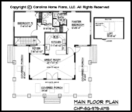 Small Stone Craftsman Bungalow House Plan CHPSG979AMS Sq Ft