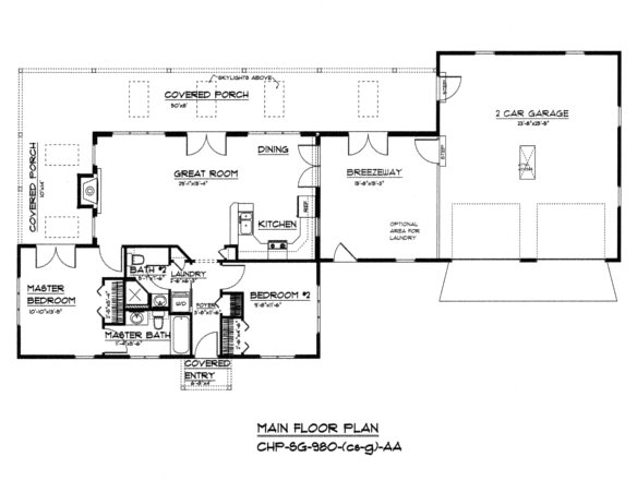 SG-980 Floor Plan-Crawl/Slab, Garage