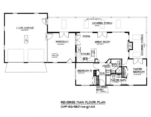 SG-980 Reverse Floor Plan-Crawl/Slab, Garage