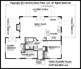 Small Contemporary Cottage House Plan SG980 Sq Ft Affordable