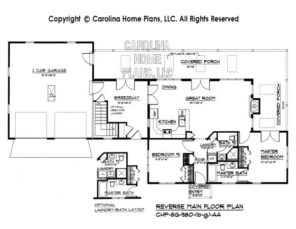 SG-980 Reverse Floor Plan-Basement, Garage