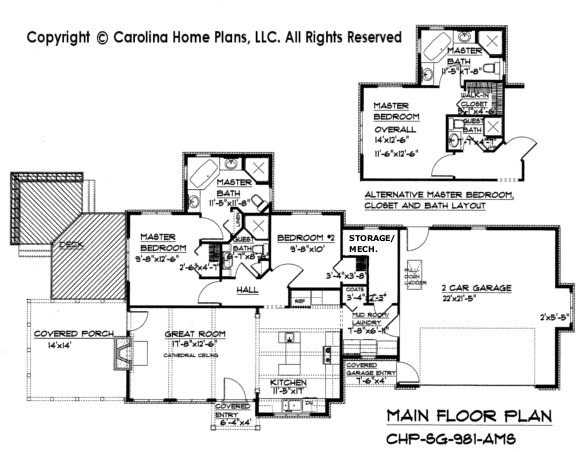 SG-981 (Crawl/Slab) Main Floor Plan