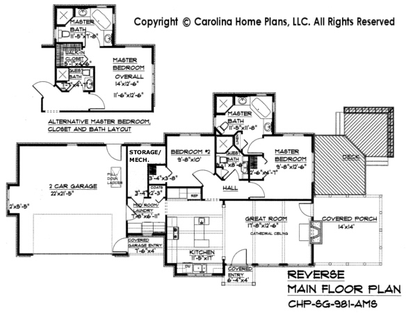 SG-981 Reverse (Crawl/Slab) Main Floor Plan