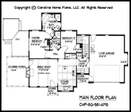 sg 981 main floor plan - Small Cottage House Plans 2